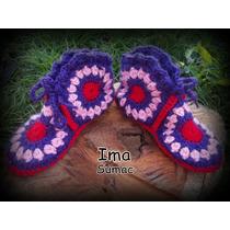 Pantuflas De Lana En Crochet, Tecnica Patchwork. Forradas