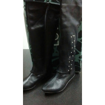 Botas Largas Color Negro Con Tachas
