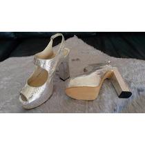 Zapatos De Fiesta Cuero Plateado Sandalias 38.5 / 39