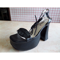 Zapatos Sandalias Con Tacon Palo Y Plataforma, Con Pulcera