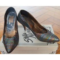 Zapato Taco Aguja Retro Vintage Tela Estampada