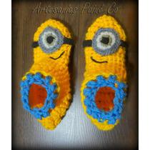 Pantuflas Artesanales Para Niños. Tejidas Crochet. Minions!!