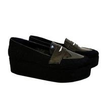 Clippate Mocasines Zapatos Plataforma En Pelo En Cuero Mujer