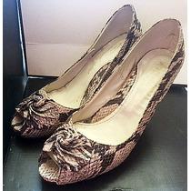 Zapatos Stilettos Altos Reptil N36 Nuevos C/ Aplique Flor