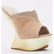 Zapatos Sandalias Plataforma Doradas Importadas