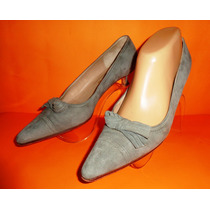 Perugia Zapatos Stilletos Nro.39 Color Gris Gamuza