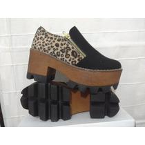 Zapatos Mocasin Suela Tractor Animal Print Y Negro