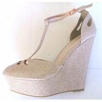 Zapatos Sandalias Plataforma Doradas Importadas Usa