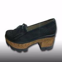 Mocasin Mujer Base Simil Madera Tipo Zapatos