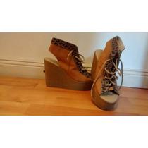 Zapatos Plataformas Con Cordones Y Leopardo