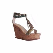 Clippate Sandalias Zapatos Plataformas Cuero Corcho Dorado