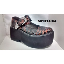 Zapatos Cerrados Cuero Con Plataforma Charol Fluxa 501