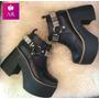 Zapato Bota Con Plataforma Super Alta De Cuero! Hermosa!!