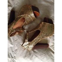 Zapatos Taco Dorados Brillantes Importados Plataforma