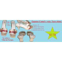 Zapatos Camel Y Rojo. Taco Chino. Nº 39. (marca New Factory)