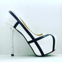Print-black And White Stilettos Importados Mia Cavalli