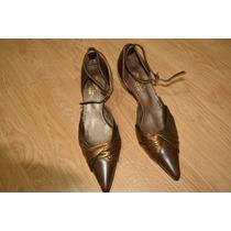 Zapatos Elegantes Con Pulsera Color Marrón Y Cobre N° 36