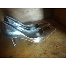 Zapatos Stilettos Cuero Dorado Sin Uso Impecables, Divinos!!