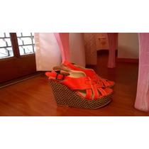 Sandalias Con Plataforma Sonne De Cuero Color Coral Nº 35