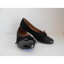 Zapato Mujer Chatita Punta Charol Con Moño