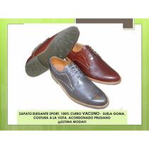 Zapato Elegante Sport- Suela Goma, Cuero 100% ¡ultima Moda!!