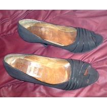 Zapato Negro Cuero Gamuza Taco Fino 7 Cms-sin Puntera T 38