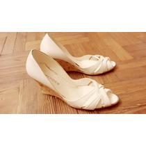 Zapatos Sandalias Expender Cuero Taco Chino Corcho T 38/39
