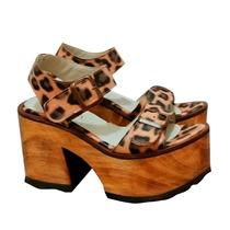 Sandalias Zapatos Plataforma Taco Madera Cuero Animal Print