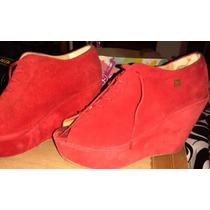 Zapatos Rojos De Gamuza Con Plataforma Forrada Nº. 39