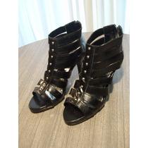 Sandalias Cuero Ecológico Negras Nro.38 - Lola Shoes