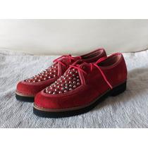 Zapatos Cuero Gamuzado Y Tachitas . Oferta Ultimos Pares