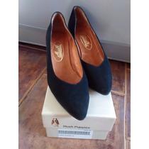 Zapatos Negros De Gamuza Talle 38, Como Nuevos!!!
