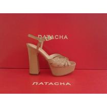 Sandalia Plataforma Taco Forrado Charol Nude #4112 - Natacha