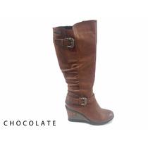 Botas Caña Alta Taco Chino Chocolate Cuero Marron 35 Al 40