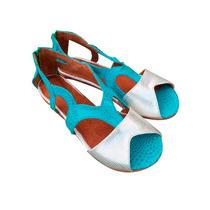 Sandalias Chatitas Zapatos En Cuero Mujer Doradas Plateadas