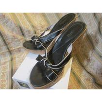 Sandalia Taco Chino Con Plataforma Color Negro (lucerna) 38