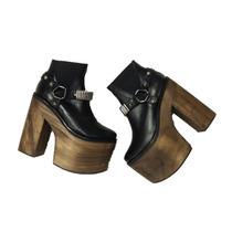 Botas Mujer Zapatillas Madera Cuero Zapatos Paradisea