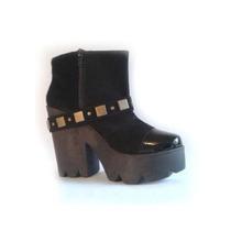 Clippate Botinetas Mujer Gamuza Plataforma Zapatos Charol