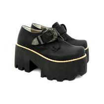 Zapatos Plataforma Taco Hebilla Cuero