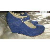 Zapatos Altos Plataforma Gamuzados Azul Elect Como Nuevos