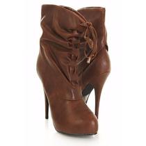 Zapatos Mujer Importados Botineta Taco Chocolate Ajustable
