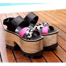 Zapatos De Cuero Con Taco De Madera Y Suala De Goma