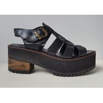Zapatos Plataforma De Cuero Sandalia Franciscana Liquidación