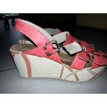 Sandalias Con Plataforma Color Coral, Marca Kireina