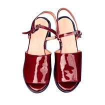 Clippate Sandalias Zapatos Plataformas En Cuero Charol Mujer