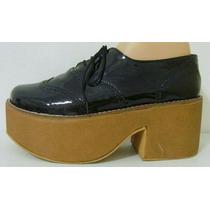 Zapatos Creepers Gotico Plataforma 40 Charol Negro (ana.mar)