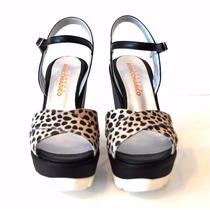 Zapatos Mujer Cuero Animal Print Sandalia Plataforma