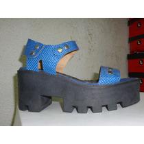 Plataformas Cuero Iguana Corre Lola Art 3646 Tractor $ 399