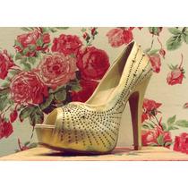 Zapatos Mujer Importados Plataforma Taco Oro Strass Fiesta