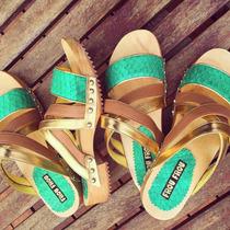 Suecos Madera Cuero Verde Dorado Suela Taco- Frou Frou Shoes